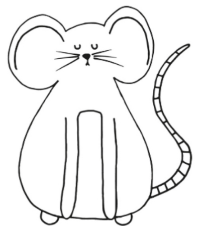 illustrated black and white line drawing of a mouse