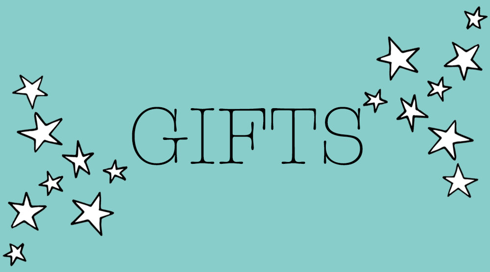 Click Through banner turquoise with stars with caption 'Gifts'