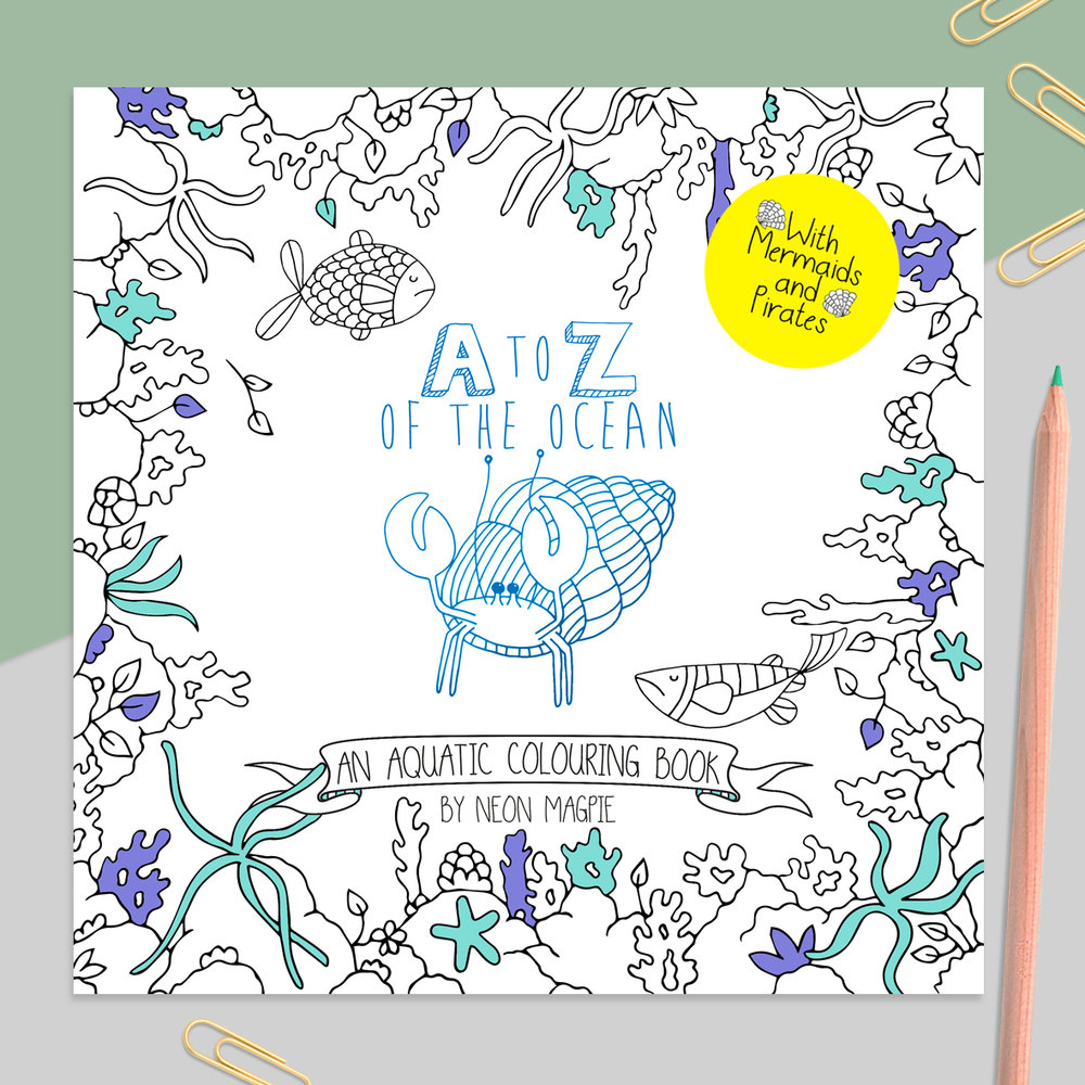 A-Z of the Ocean Colouring book with blue foil hermit crab