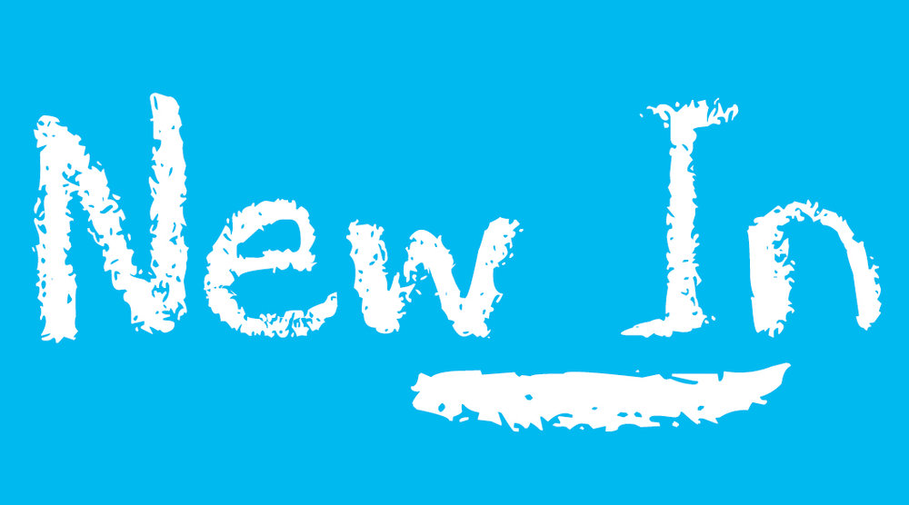 Blue click through banner with the words 'New in'