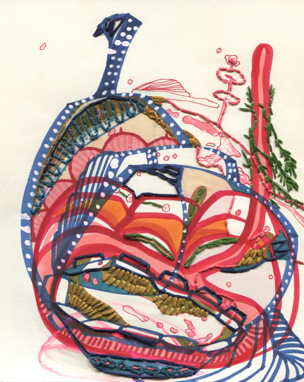 "Living Inside Me   Ink on paper, embroidery  8"" x 10"""
