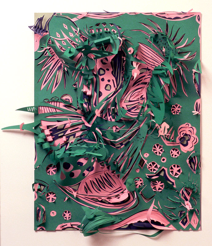 "Pink Blossoms   Paper cut-out  19"" x 27""  2008"
