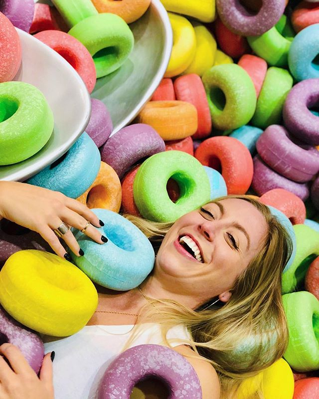 "For those times when you feel like you live in a bowl of fruit loops but are still on top of your shit ... yeah #funbox @realfunbox SO much ""non-adult"" fun yesterday with @louziane. . . . #losangeles #fruitloops #pigsofinstagram #lifesizedemojis #instagramworthy #play #friends #jumpingpics #color #halloween #girliepicsandshit"