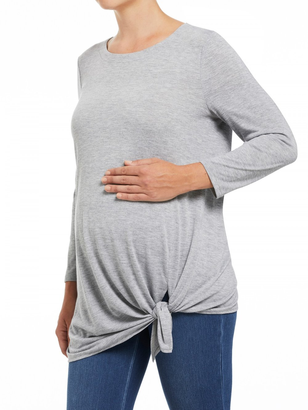 Purchase in-store or online $34.97 - Loose or flowing tops are a pregnant woman's best friend! Especially in the warmer months. SUSSAN have a large range of pretty maternity shirts to choose from. This tie fronted grey number could be worn over a body con dress or with a pair of jeans.