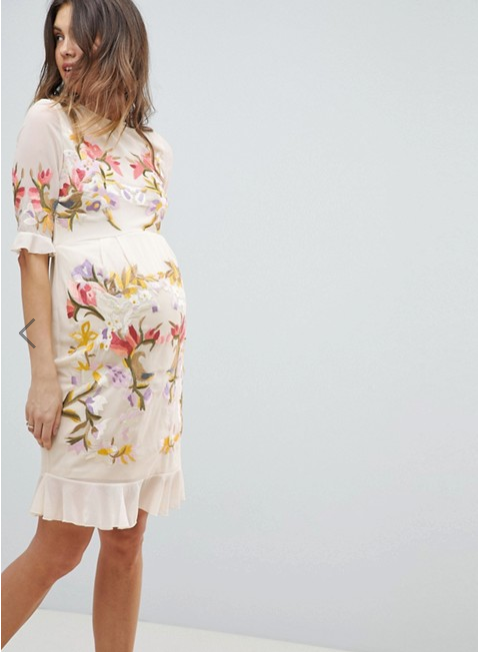HOPE AND IVY MATERNITY at ASOS online store with free and easy returns $220 - This beautiful embroidered number would be beautiful for a party or even the races (yes even us pregnant mares can kick up our heels too) Pair it with wedged heels for comfort.
