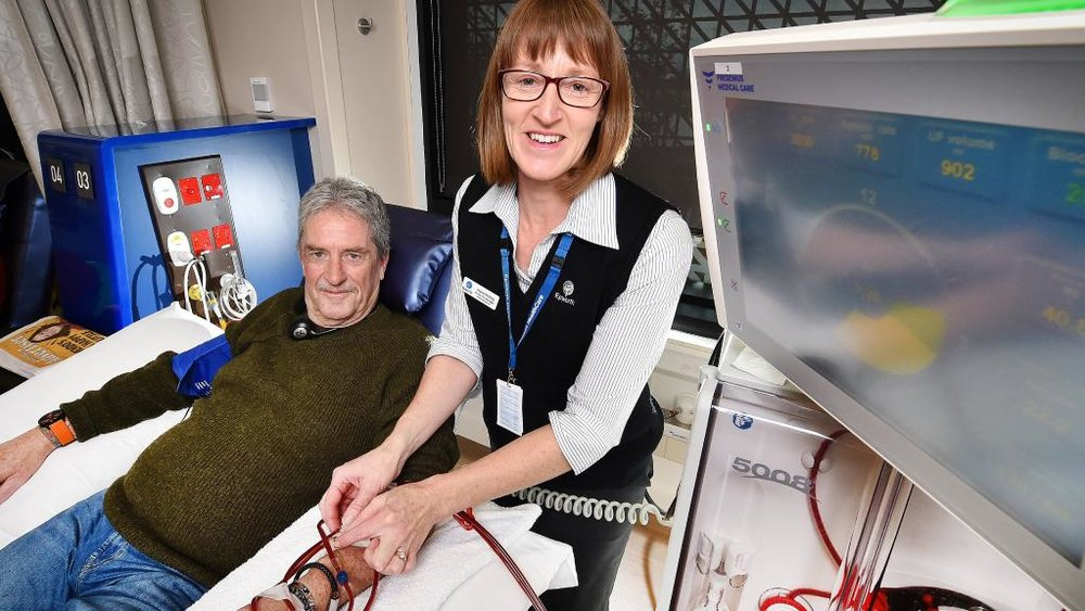 Dialysis patient Mark Somerville, with nurse unit manager Ingrid Stirling, is one of the first to use Epworth Geelong's facilities. Picture: Nigel Hallett