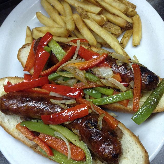 Today's Special: Grilled Italian Hot Sausage w/Carmelized Onion & Saute' Peppers s/wFries or Salad $13.99