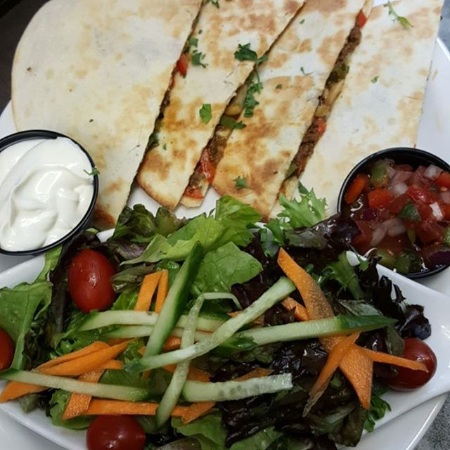 Today's special: Spicy Beef Quesadilla s/w fries, soup, or salad $13.99
