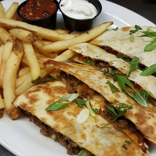 Today: Beef Quesadilla w/fries or salad $13.99