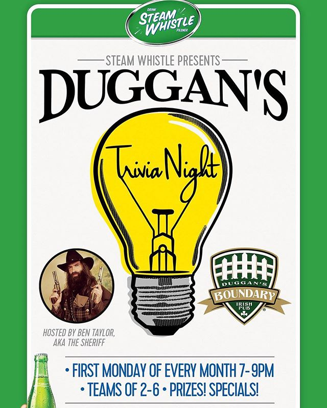 Trivia night tonight! Come down for good times, prizes and discounted Steamwhistle! #duggansboundary #steamwhistle #goodtimes #pubtrivia