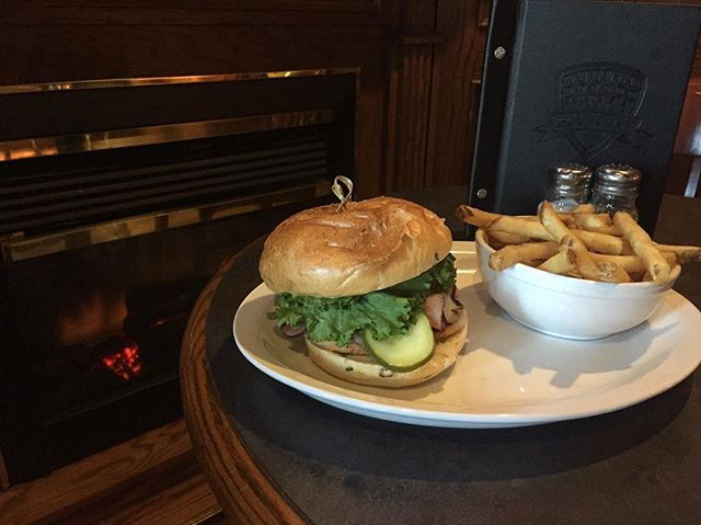 It's chilly out but we have a fireplace and comfort food! Cordon blue Swiss burger #todaysspecial #duggansboundary #comfortfood