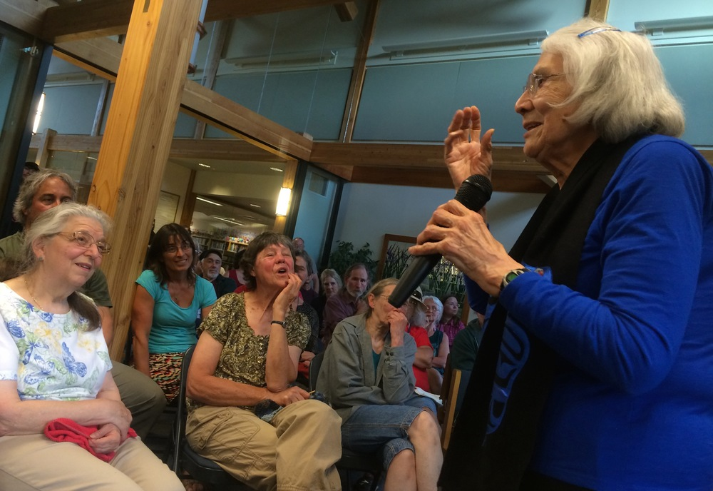 Delores at the Haines Public Library during a Q and A