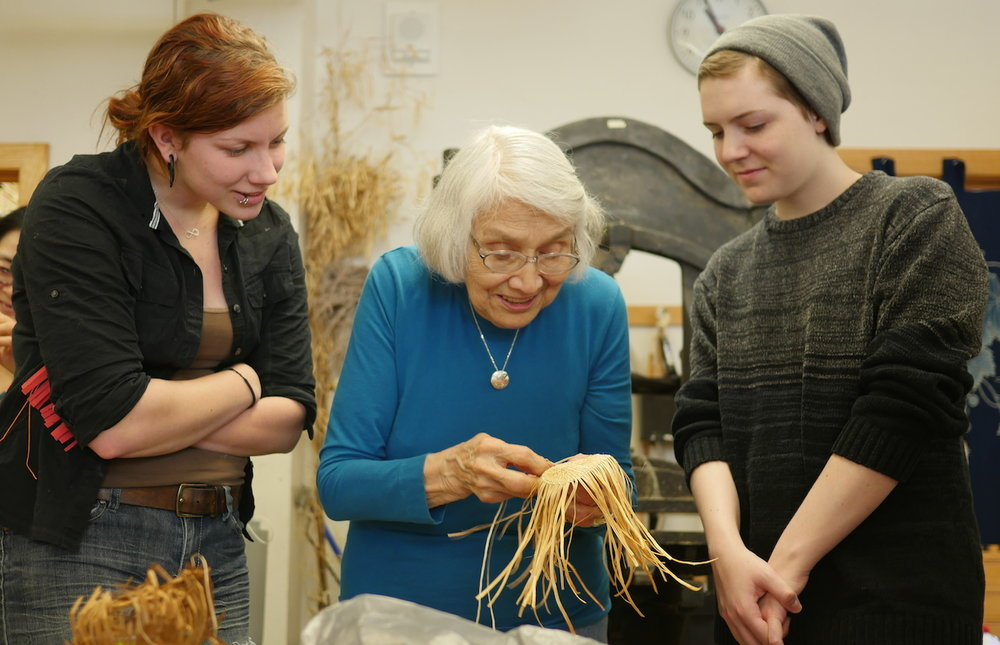 Delores with students at Western Washington University.