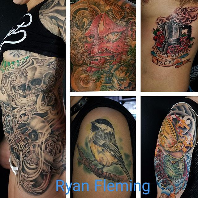My homie from the best city in the world (Portland Maine , ayuh) @ryanflemingtattoos of @sanctuarytattoo207 will be with us at the shop feb 22-23 - taking walk ins and appts - he can be contacted directly at inked@ryanflemingtattos.com - thanks!
