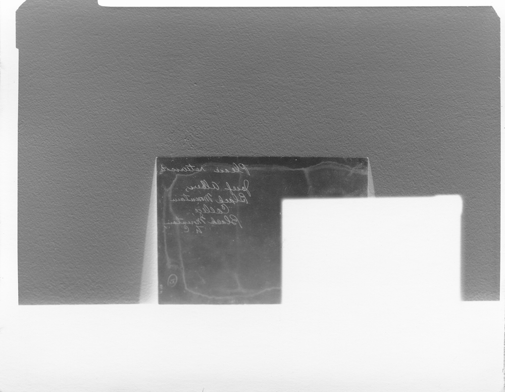 Please return to Josef Albers, Black Mountain College, Black Mountain N.C.    Black Mountain College Papers Office of Archives and History Raleigh, North Carolina , 2011.  Silver gelatin paper negative, 4 x 5inches.