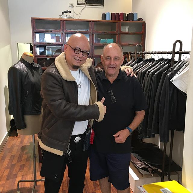 Steve visiting Melbourne for CNY from HK.... Loved our new men's shearling bomber jacket...SOLD!#handmade #shearlingjacket #madeinmelbourne