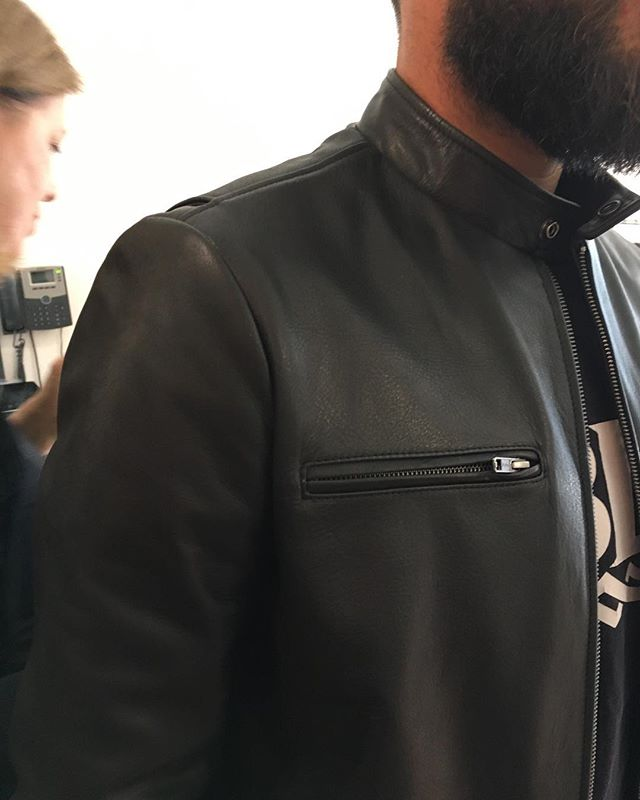 Close up of new mens jacket available April  #custommade #leatherracer #j100 #madeinmelbourne