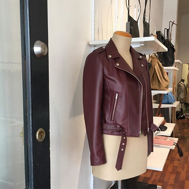 Colours keep coming for autumn Biker jacket in aubergine: limited run#aubergine #custommade #madeinmelbourne#leather jacket #limitededition