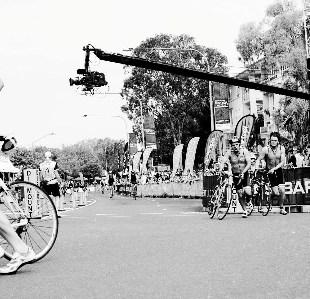 Feel the passion! My brother finishing his 40km bike leg