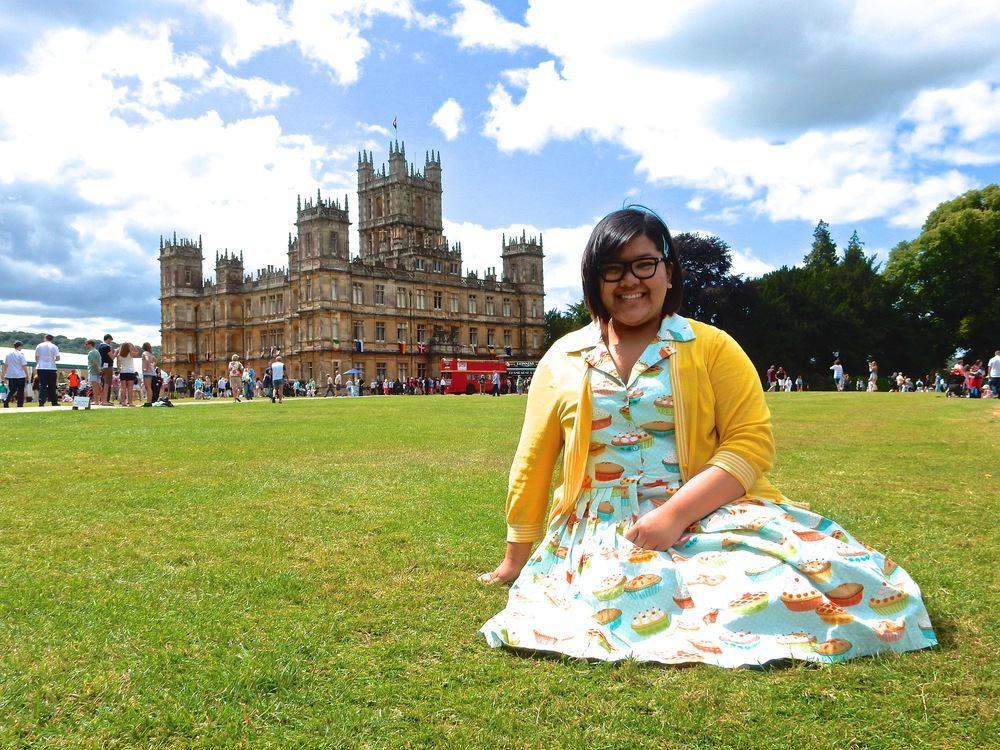 Jen enjoying A Summer Day at Downton Abbey. Taken at Highclere Castle, Newbury, England, August 2014.
