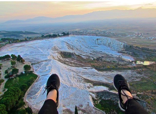 Sarah's view over Pammakale, Turkey at Sunset. Are we jealous? You bet.