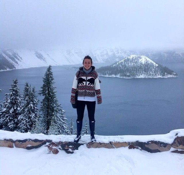 Charlotte at Crater Lake, Oregon, USA. And yes, we too want that jumper.