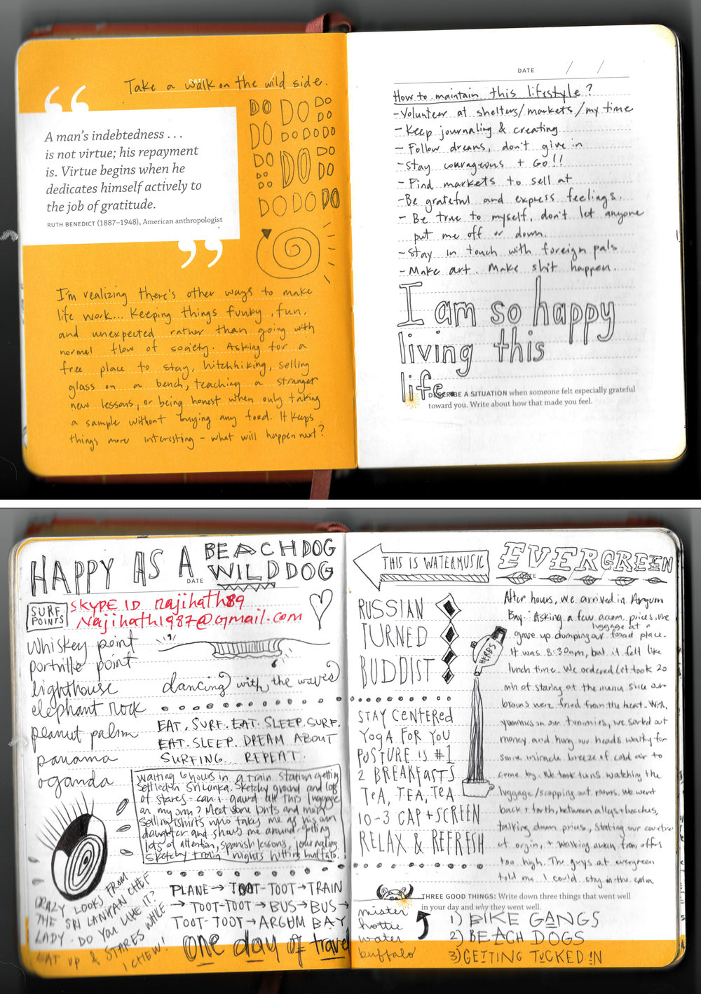 Excerpts from Emily's most prized travel possession: her journal