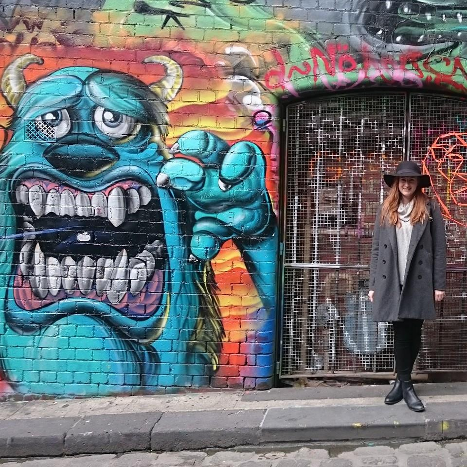Mel exploring the graffiti of Hosier Lane, Melbourne