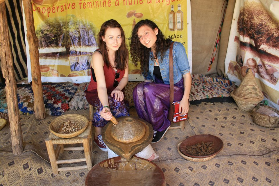Helena & her pal Hannah trying out local customs in Morroco