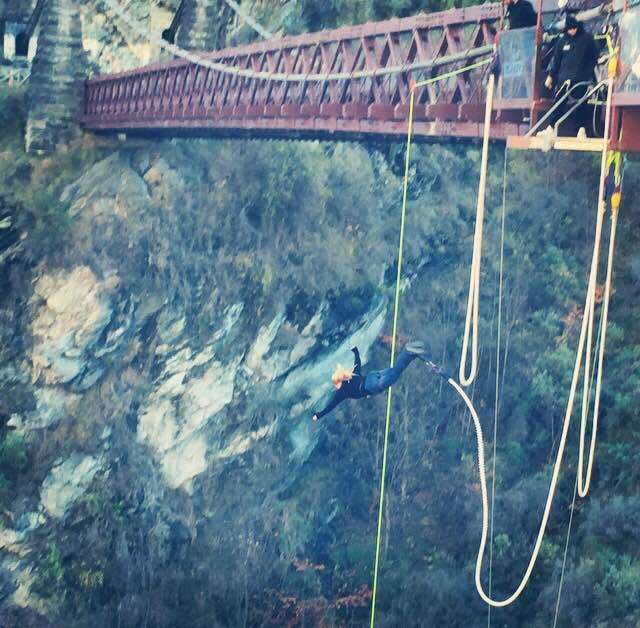 Caroline getting her bungee on, in Queenstown, New Zealand