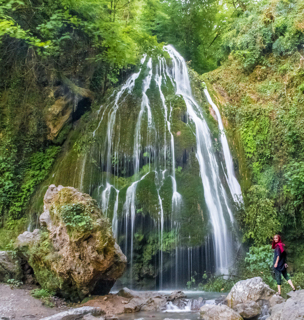 Evelina chasing the Kaboud-val waterfall of Golestan province, Iran