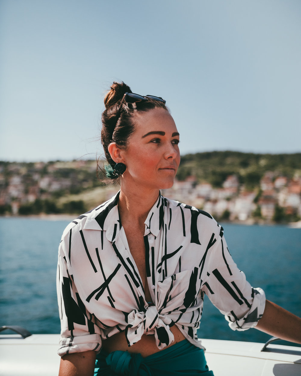 Phoebe again on a boat, this time sailing around the five islands you'll find near Split, Croatia