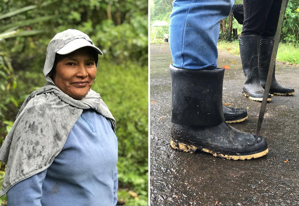 A smile, A rain boot.