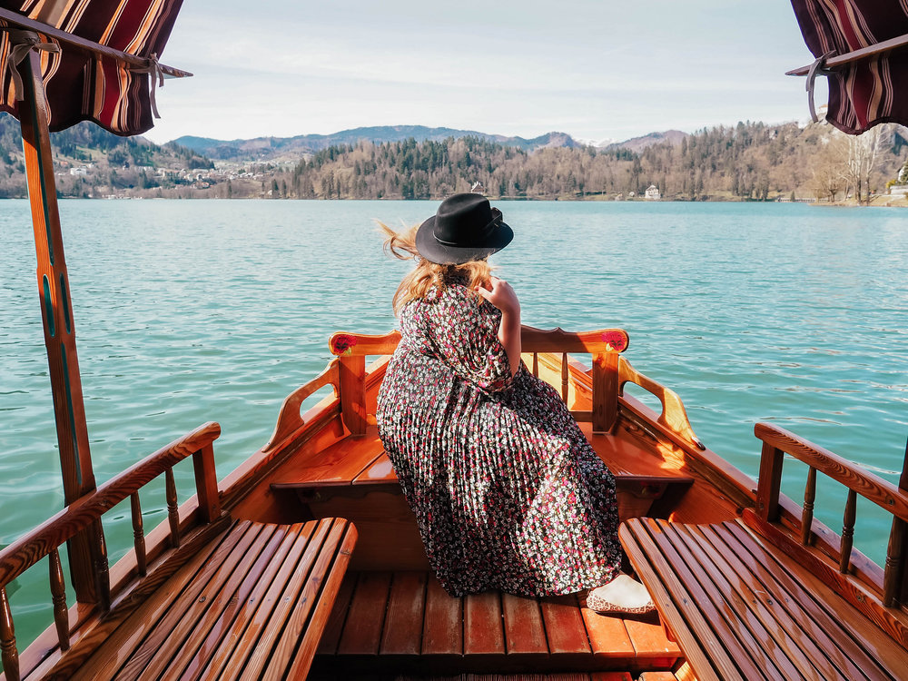 Veera admiring the views of Lake Bled on a trip with the Slovenian Tourist Board