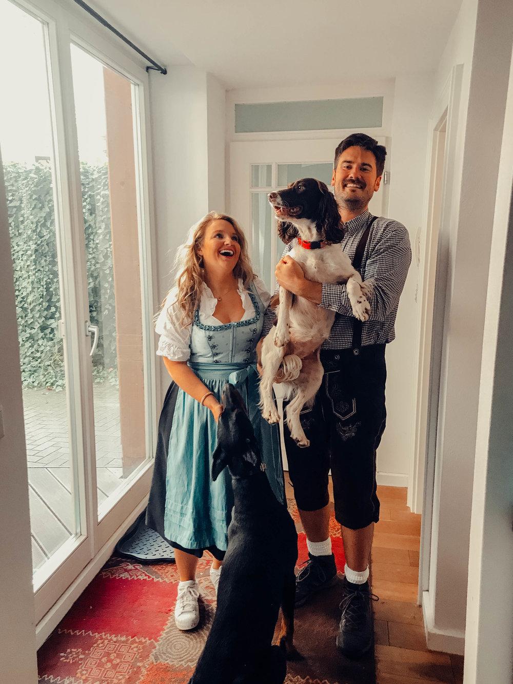 Helene & family preparing for Oktoberfest (HQ: yes, we're fully in puppy love too)