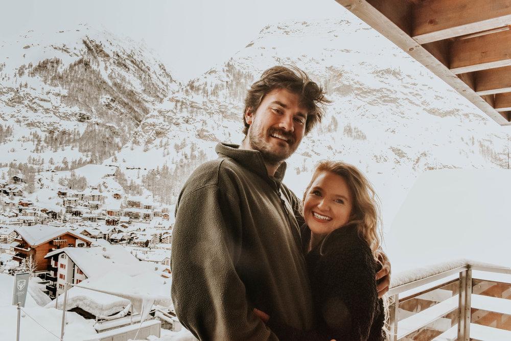 Helene and her love keeping warm in snowy Zermatt, Switzerland