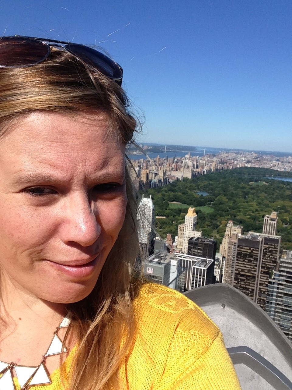 Georgina enjoying the views of New York City, on a former press trip in her previous role as a travel journalist