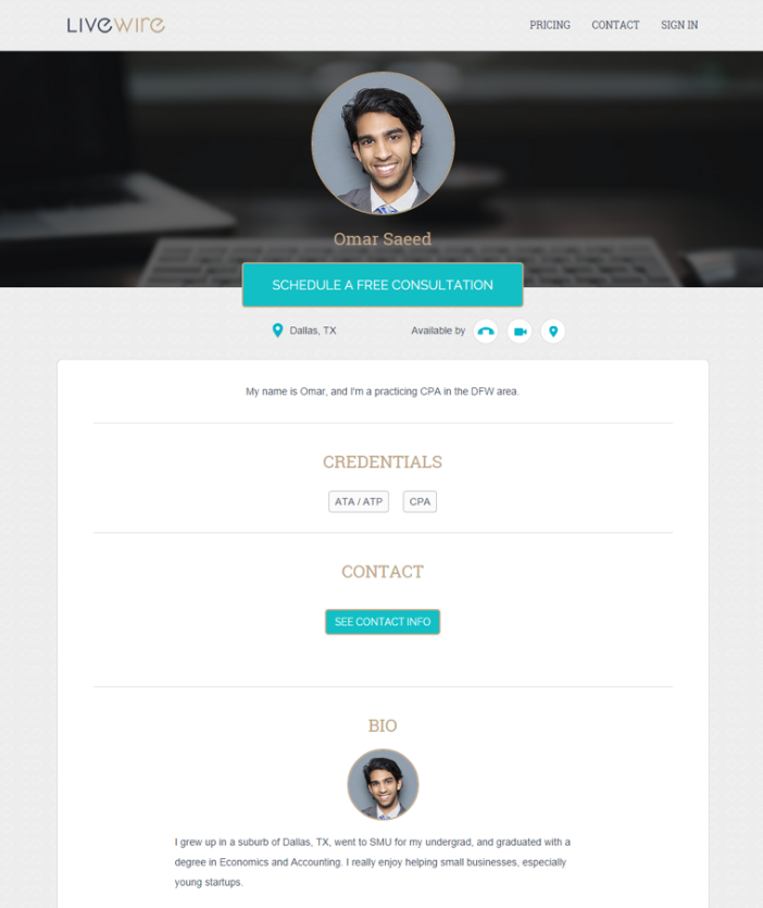 Click to see example profile