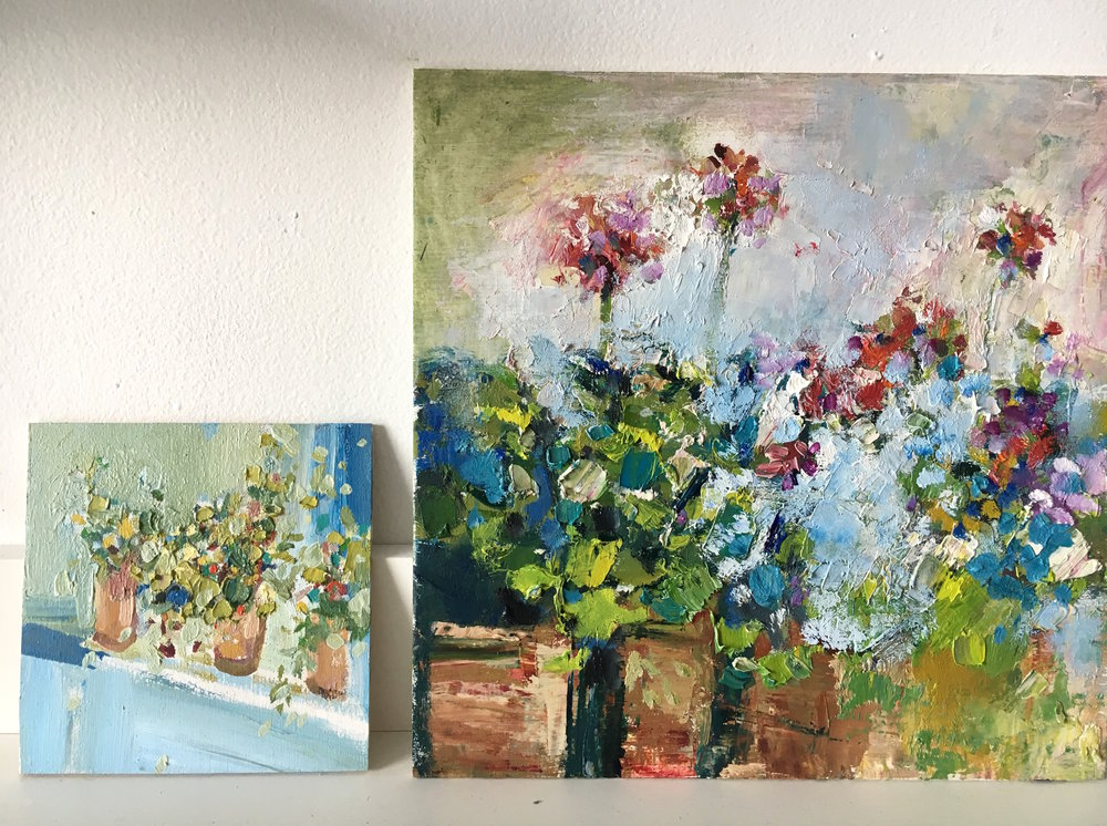 jenny vorwaller geraniums and terrcotta pots.JPG
