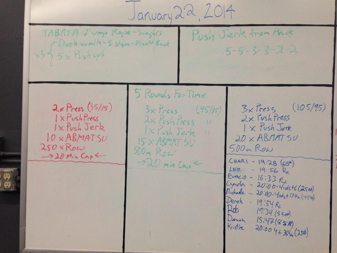 Jan 22 WOD Results