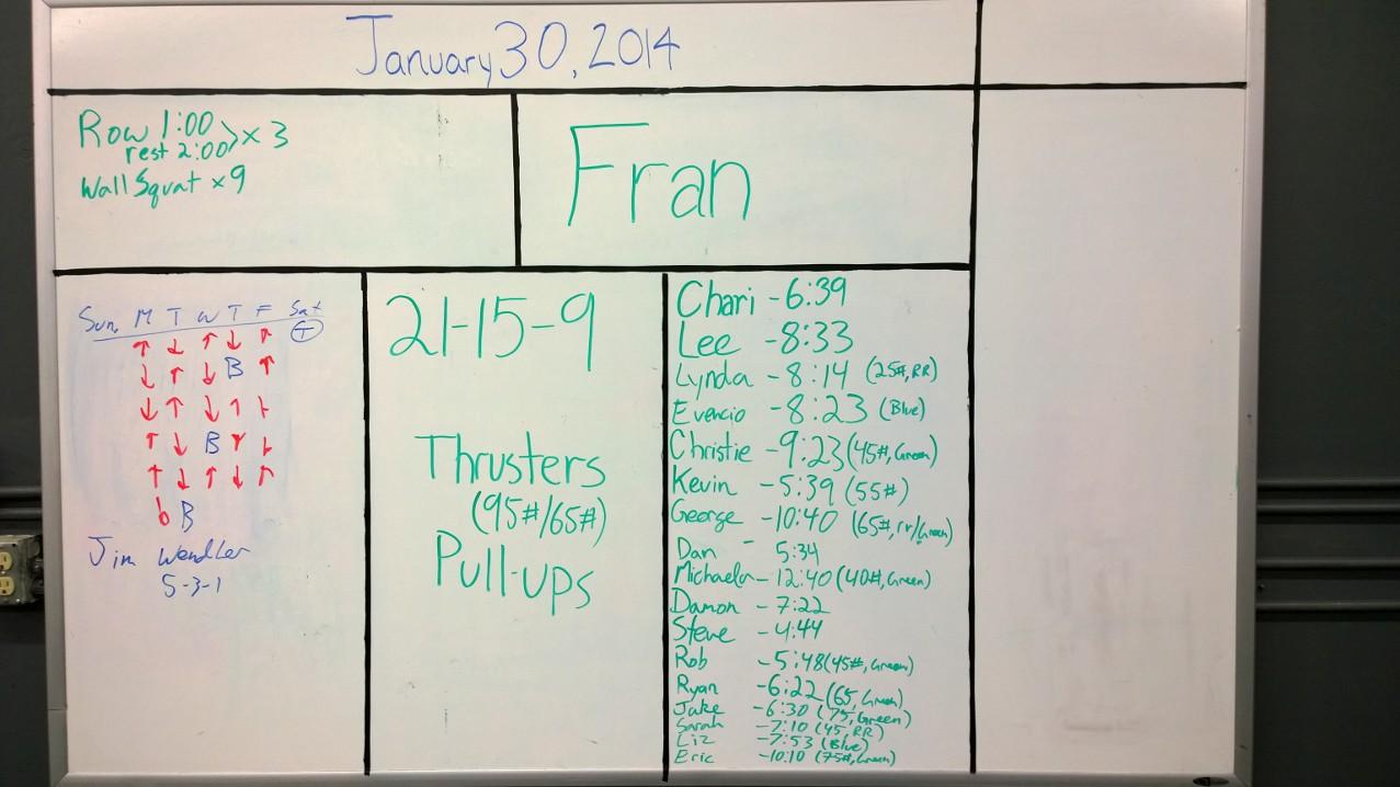 Jan 30 Fran Results