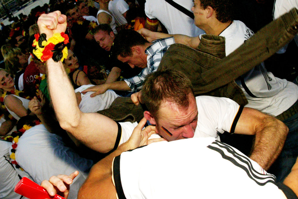 Germany and Greece fans brawl in the fan section during a public viewing of the UEFA Euro 2012 Greece versus Germany soccer game in Berlin, Germany, on June 22, 2012.