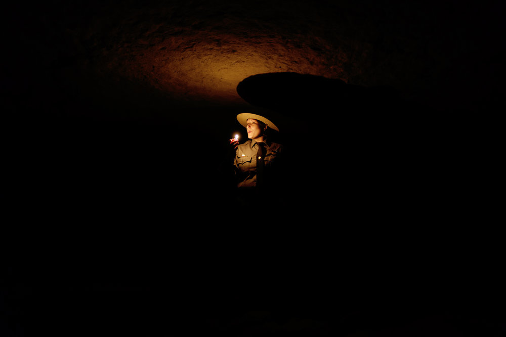 A park ranger gives a tour of Mammoth Cave outside of Bowling Green, Kentucky.