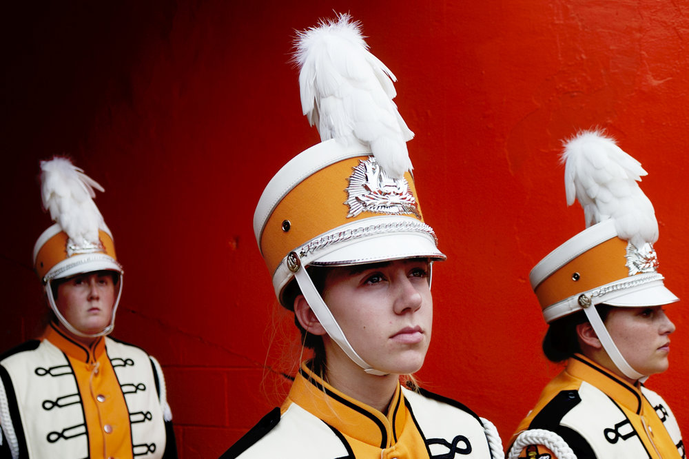 Pride of the Southland band members wait to take the field.