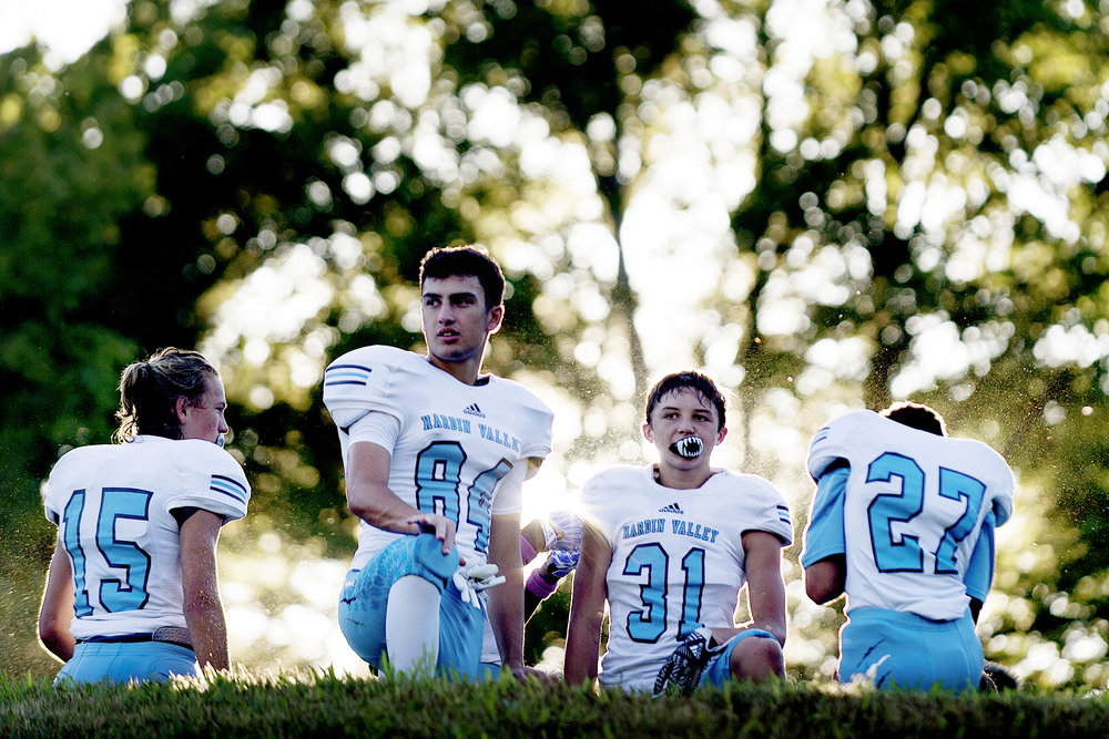 Hardin Valley's Bobby Farr (84) and Braden Schloff (31) await the start of their game against Oak Ridge High School at Blankenship Field in Oak Ridge, Tennessee.