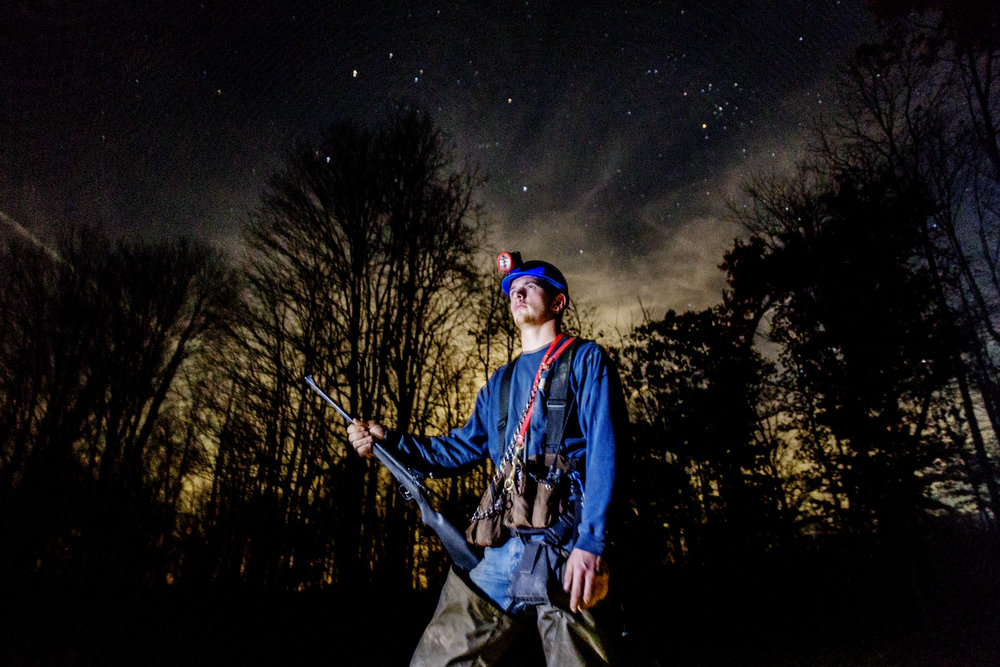 Late night racoon hunting with Jacob Koons in rural Athens County, Ohio.