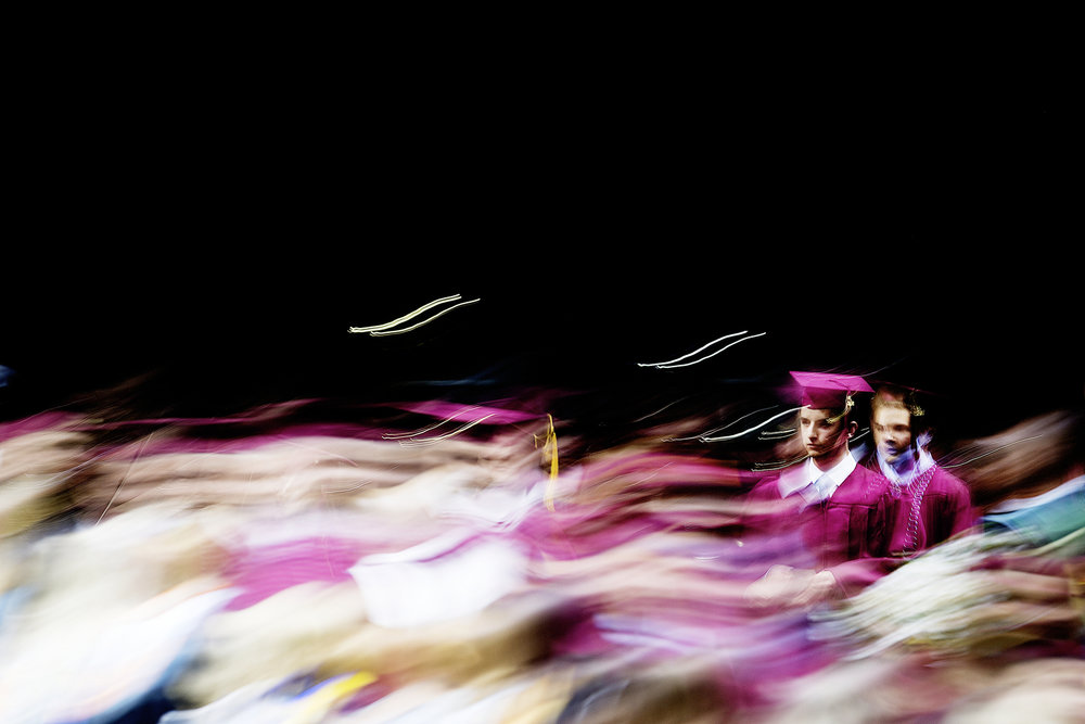 Bearden high school seniors enter their graduation ceremony at Thompson-Boling Arena in Knoxville, Tennessee on Friday, May 18, 2018.