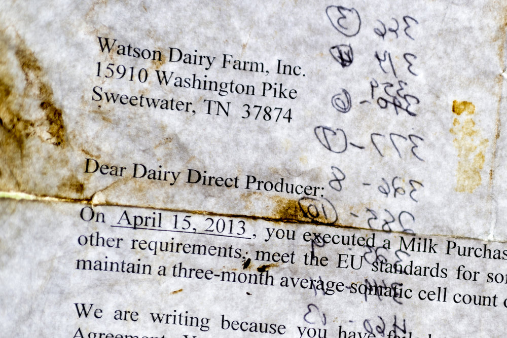 Caleb Watson received a letter in 2013 eluding to the possibility of being cut from Dean Foods in Sweetwater, Tennessee on Wednesday, March 28, 2018. Watson received a second letter of termination from Dean Foods last month and has 90 days to find a new producer.