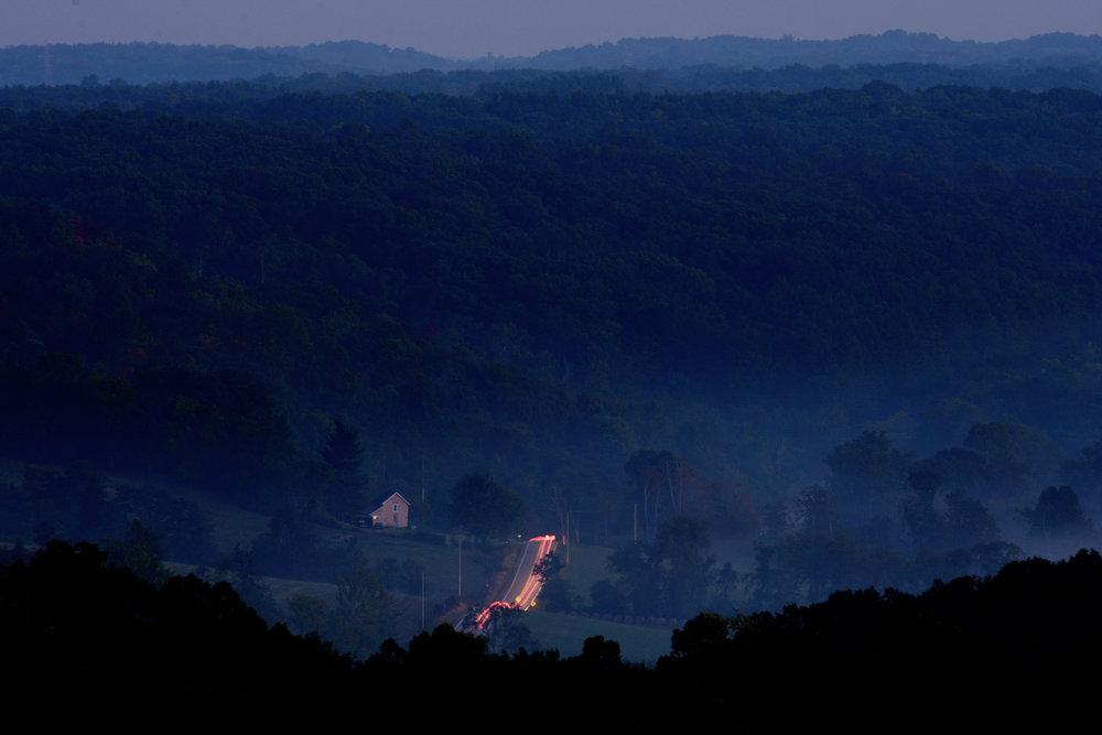 Dawn over Morgan County, Ohio, September 2016.
