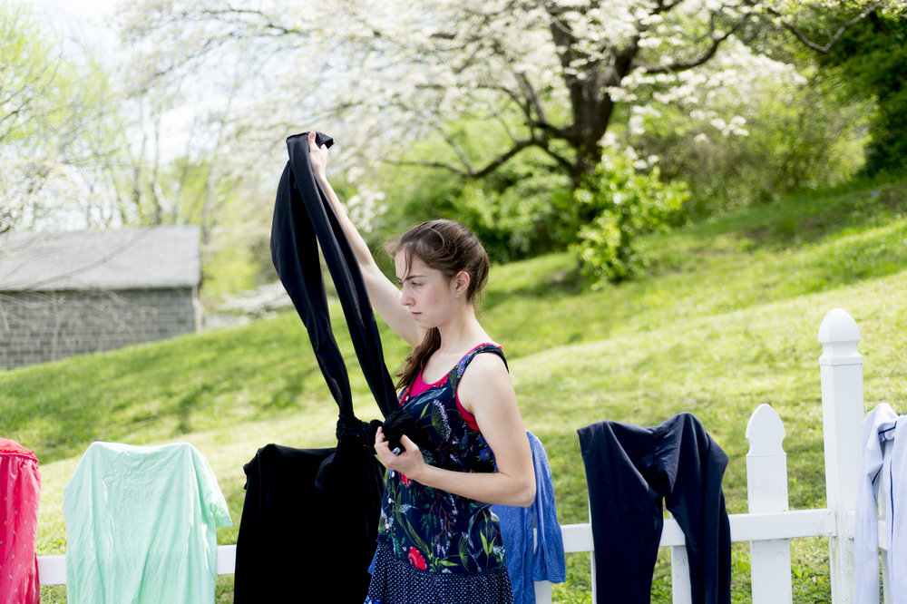 Hang drying clothes.